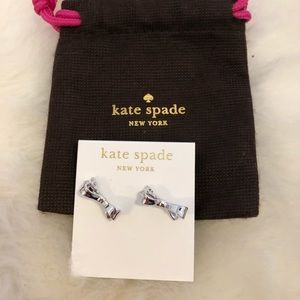 Nwt Kate Spade Earrings Love notes Silver Tone bow